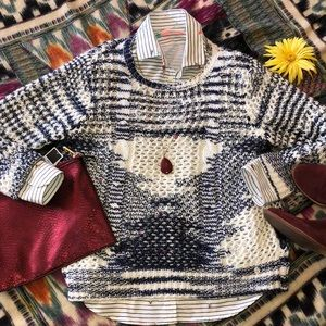 🌺 Point Zero-Blue/White Open Weave Sweater Sz. XL